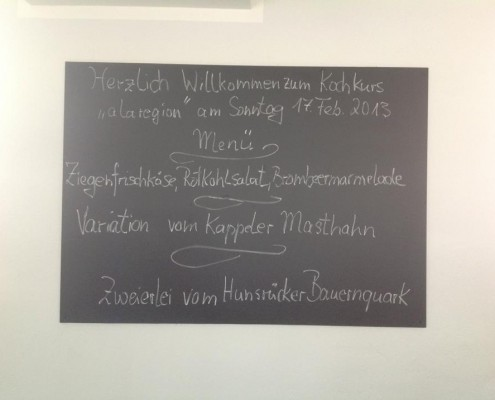 """Das Menü vom Kochkurs am 17. Feb. 2013 - """"a la region"""" Heimische Produkte von Mosel, Eifel und Hunsrück,"""